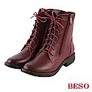 BESO 潮流酷感 拉鏈綁帶低跟短靴~酒紅