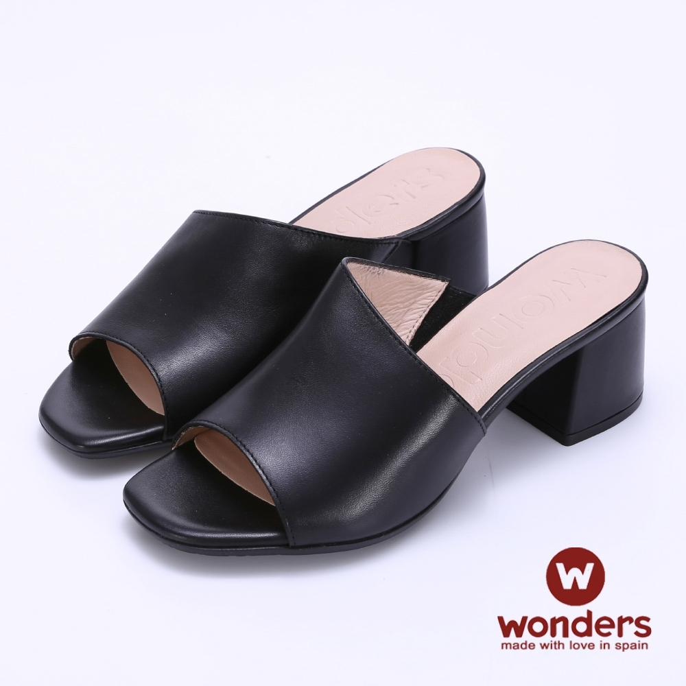 WONDERS -經典素面增高粗跟涼拖鞋-黑色