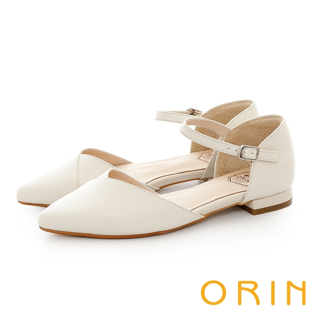 ORIN 素面牛皮尖頭瑪莉珍 女 平底鞋 白色