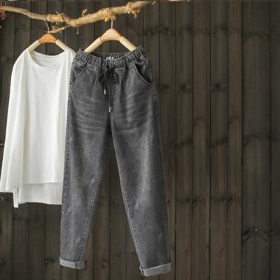 鬆軟微彈鬆緊腰水洗牛仔顯瘦哈倫褲-設計所在