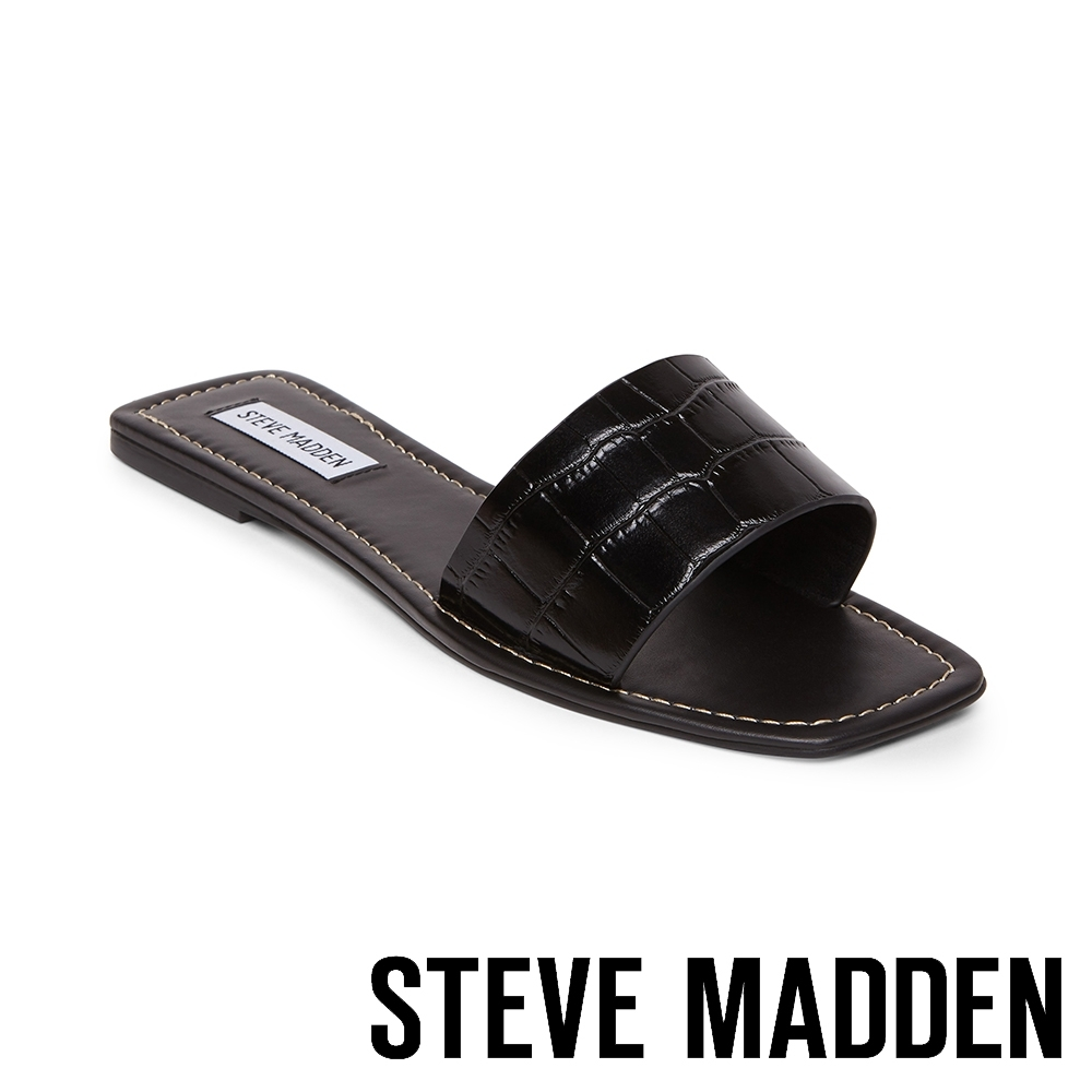STEVE MADDEN-JELSA 名款時尚 鱷魚壓紋平底拖鞋-黑色