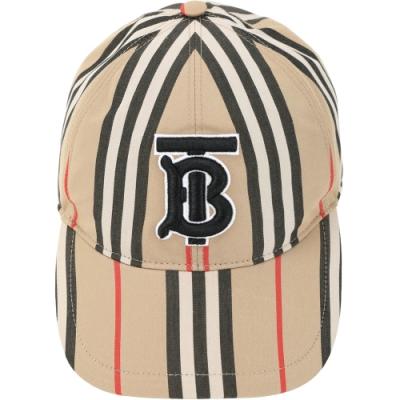 BURBERRY TB刺繡標誌條紋棒球帽(典藏米色)