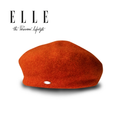 ELLE帽子秋冬法式經典羊毛呢貝蕾帽時尚百搭潮流畫家帽_橘/粉/灰/藍/黑