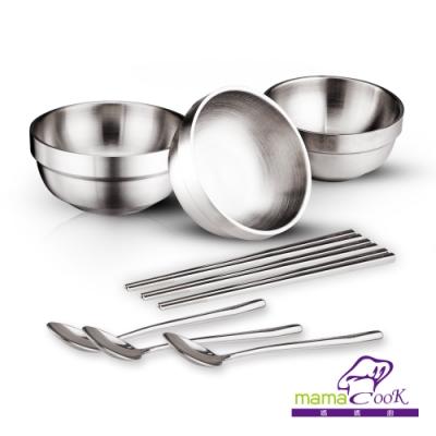 義大利MamaCook食在安心頂級316全不鏽鋼碗筷匙餐具3套9件組(3碗3筷3匙)