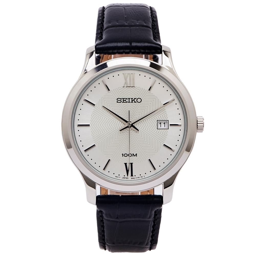 SEIKO 文青風采款的皮革手錶(SUR297P1)-銀面X黑色/40mm