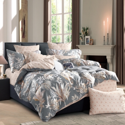 La Lune 台灣製300織紗長纖絨棉雙人被套加大床包四件組 Eaton Hall -灰