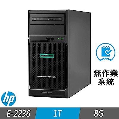 HP ML30 Gen10 伺服器 E-2236/8G/1TB/FD