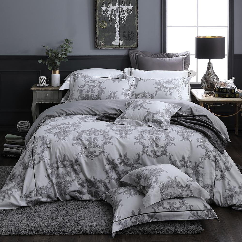 OLIVIA  奧汀 淺灰 300織精梳純棉 標準雙人床包歐式枕套組