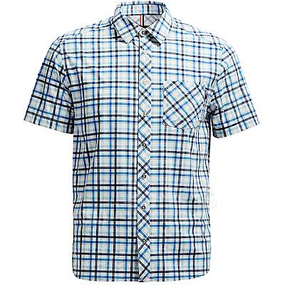 Wildland 荒野 0A71208-72深藍 男彈性抗UV格子短袖襯衫