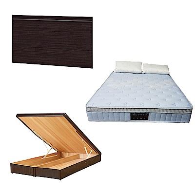 綠活居 可娜5尺雙人床台三式組合(床頭片+後掀床底+天絲獨立筒床墊)五色可選