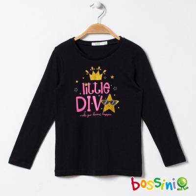 bossini女童-印花長袖T恤05黑