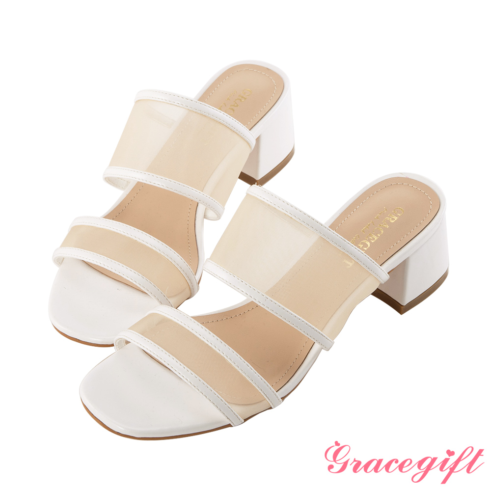 Grace gift-透膚網紗雙寬帶涼鞋 白