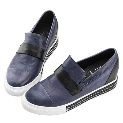Robinlo & Co.仿舊復古牛皮休閒鞋 藍