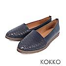KOKKO -甜蜜舒芙蕾花紋全真皮平底鞋 - 質感藍