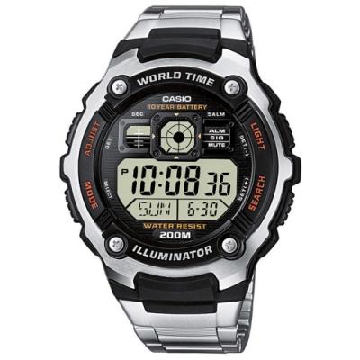 CASIO卡西歐 世界時間鐵帶電子錶(AE-2000WD-1A)