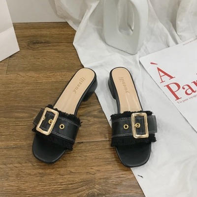 KEITH-WILL時尚鞋館 歐美流蘇粗跟涼拖鞋-黑