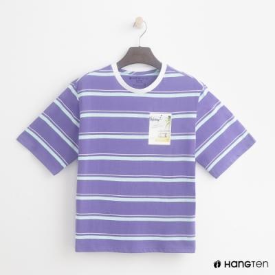Hang-Ten-青少童裝-條紋塗鴉設計T恤-紫