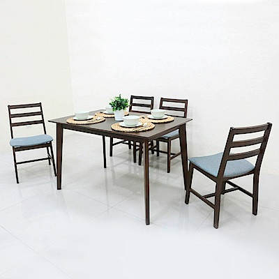AS-布茲胡桃色餐桌椅組-120x80x75cm(一桌四椅)