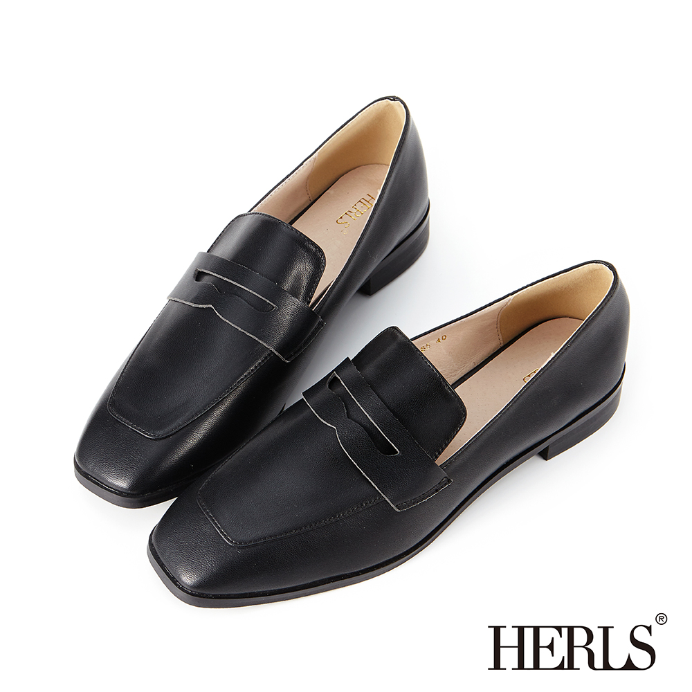HERLS 知性內斂 內真皮便士方頭樂福鞋-黑色
