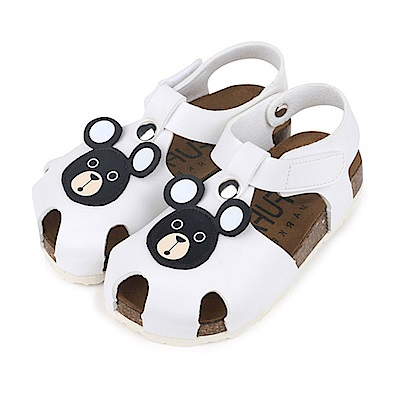BuyGlasses 可愛熊頭兒童涼鞋-白