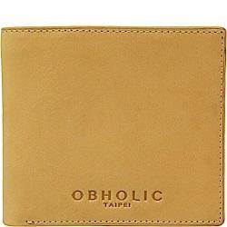 OBHOLIC 義大利牛皮莫蘭迪色短夾皮夾錢包 OBMW001A