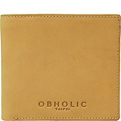 OBHOLIC 義大利牛皮莫蘭迪色短夾皮夾錢包-相框款 OBMW001AF