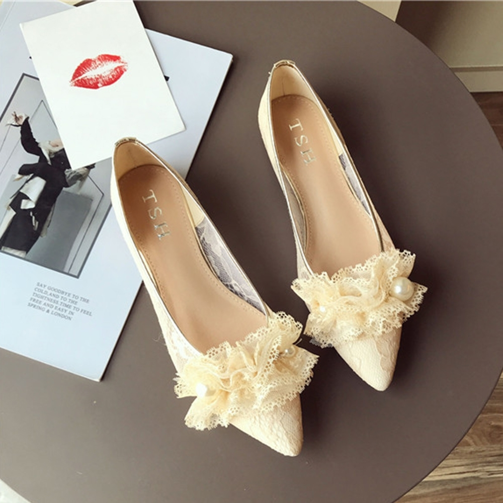 KEITH-WILL時尚鞋館 文青氣質尖頭平底鞋 米