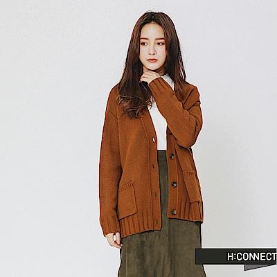 H:CONNECT 韓國品牌 女裝-雙口袋排釦針織外套-棕