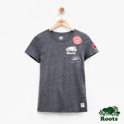 女裝Roots 貼布短袖T恤-灰色
