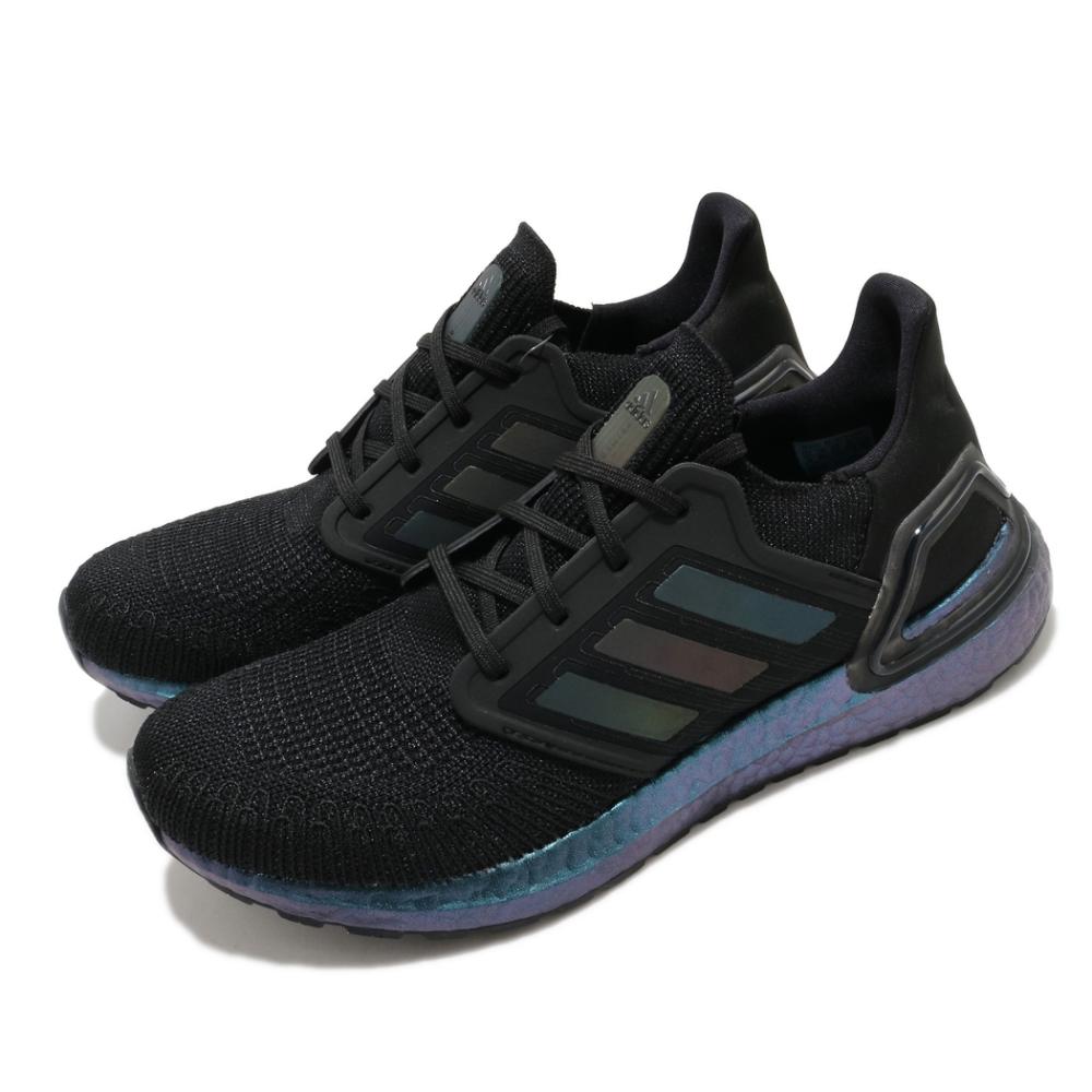 adidas 慢跑鞋 Ultraboost 20 襪套 男鞋 愛迪達 路跑 緩震 球鞋穿搭 黑 紫 FV8319