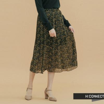 H:CONNECT 韓國品牌 女裝-印花飄逸長裙-黑
