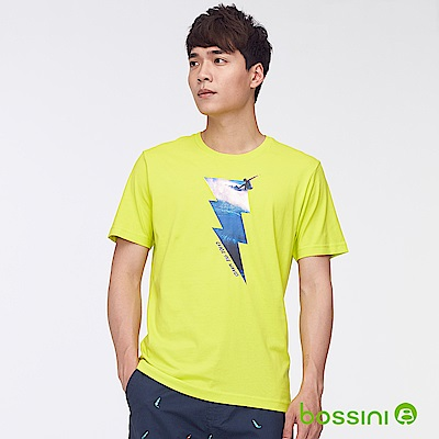 bossini男裝-印花短袖T恤42螢光綠