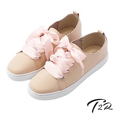 【T2R】全真皮手工甜美綁帶懶人鞋-粉
