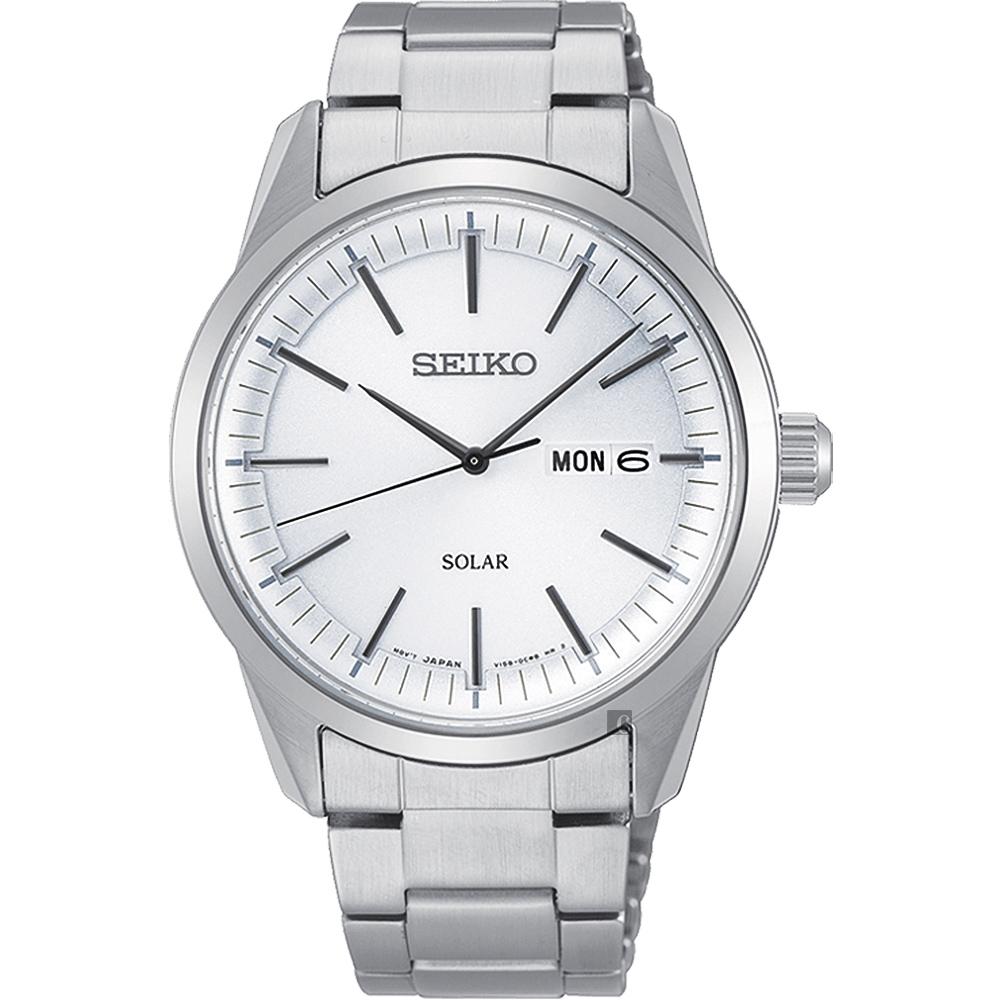 SEIKO精工 CS 太陽能SOLAR 手錶(SNE523P1)-銀/40mm
