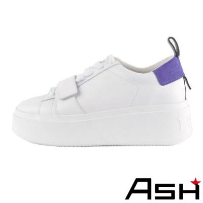 ASH-MIRACLE魔術貼設計亮色厚底小白鞋-紫