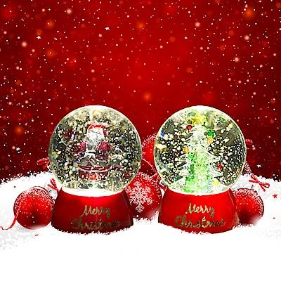 法國三寶貝 100MM聖誕樹&聖誕老公公水球LED夜燈擺飾