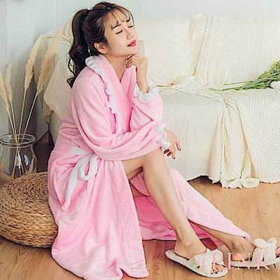 i PINK 寵愛公主 法蘭絨荷葉邊長版綁帶睡袍(粉紅)