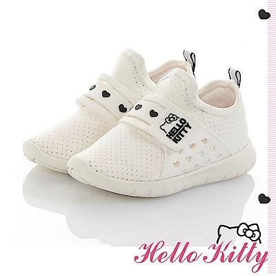 HelloKitty 旗艦款 輕量透氣減壓抗菌防臭休閒童鞋-白