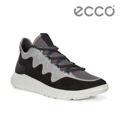 ECCO ST.1 LITE M 舒適輕巧拚色運動休閒鞋 男鞋 黑色灰色