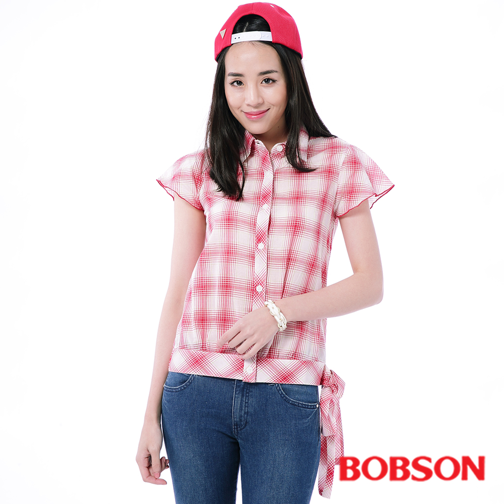 BOBSON  女款紅白格子布上衣