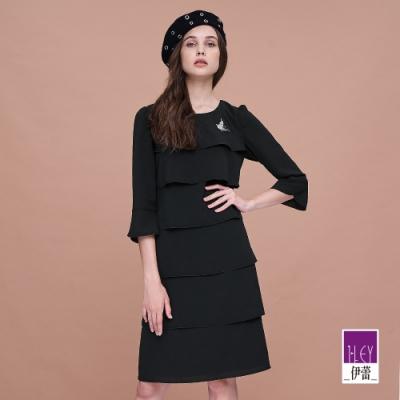 ILEY伊蕾 蛋糕層次喇叭袖型洋裝(黑)