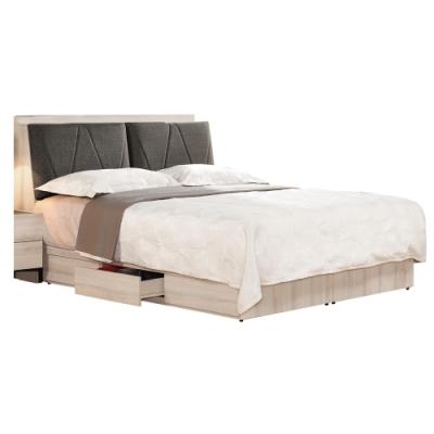 文創集 伊妮5尺棉麻布雙人床台(床頭箱+三抽床底+無床墊)-151.5x215x102cm免組