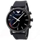 EMPORIO ARMANI Connected Hybrid 智能錶-黑膠錶帶/43mm