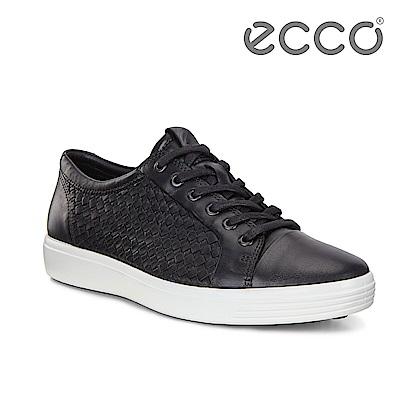 ECCO SOFT 7 M 細緻編織經典綁帶休閒鞋 男-黑