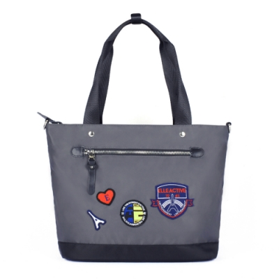 ELLE Active 巴黎遊記系列-多用托特包/肩背包/購物袋-灰色