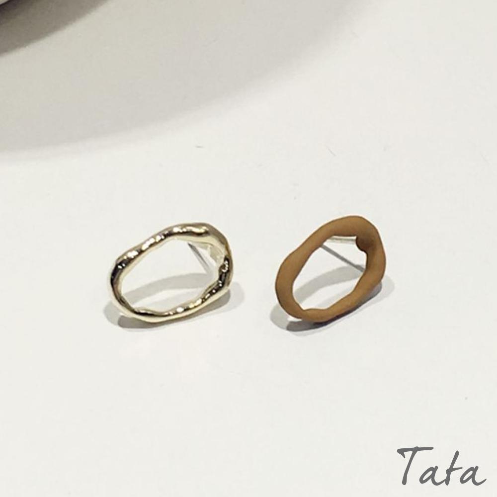不對稱鏤空金屬耳環 共二色 TATA product image 1