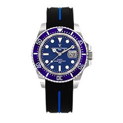 Valentino Coupeau 范倫鐵諾 古柏 陶瓷水鬼腕錶【銀色/藍面/橡膠】