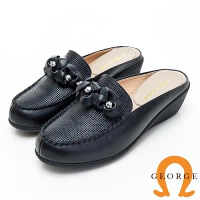 GEORGE 喬治皮鞋 花型水鑽契型穆勒鞋-黑色
