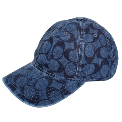 COACH單寧藍C Logo刷舊牛仔風棒球帽