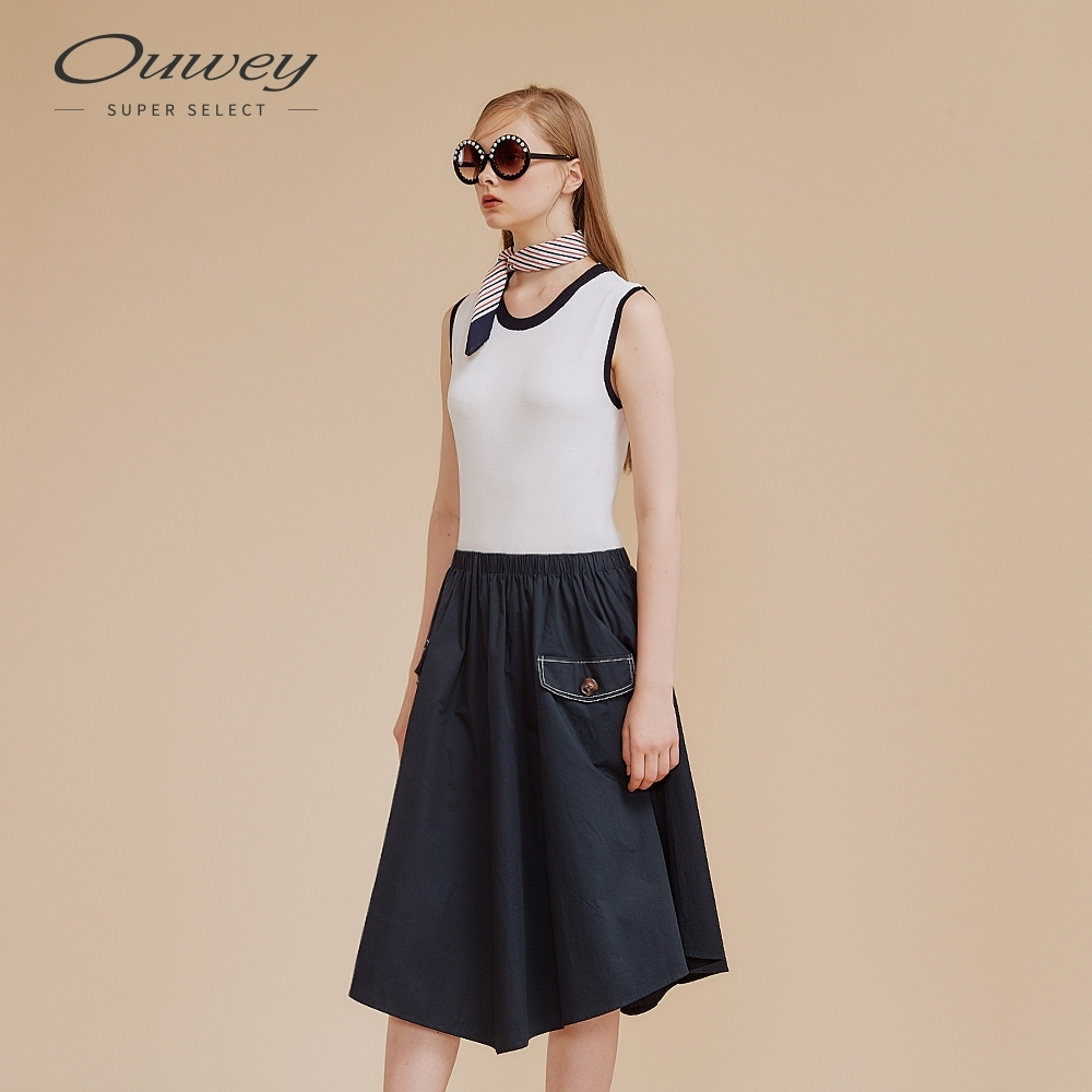 OUWEY歐薇 休閒感針織拼接長版牛仔洋裝(白)